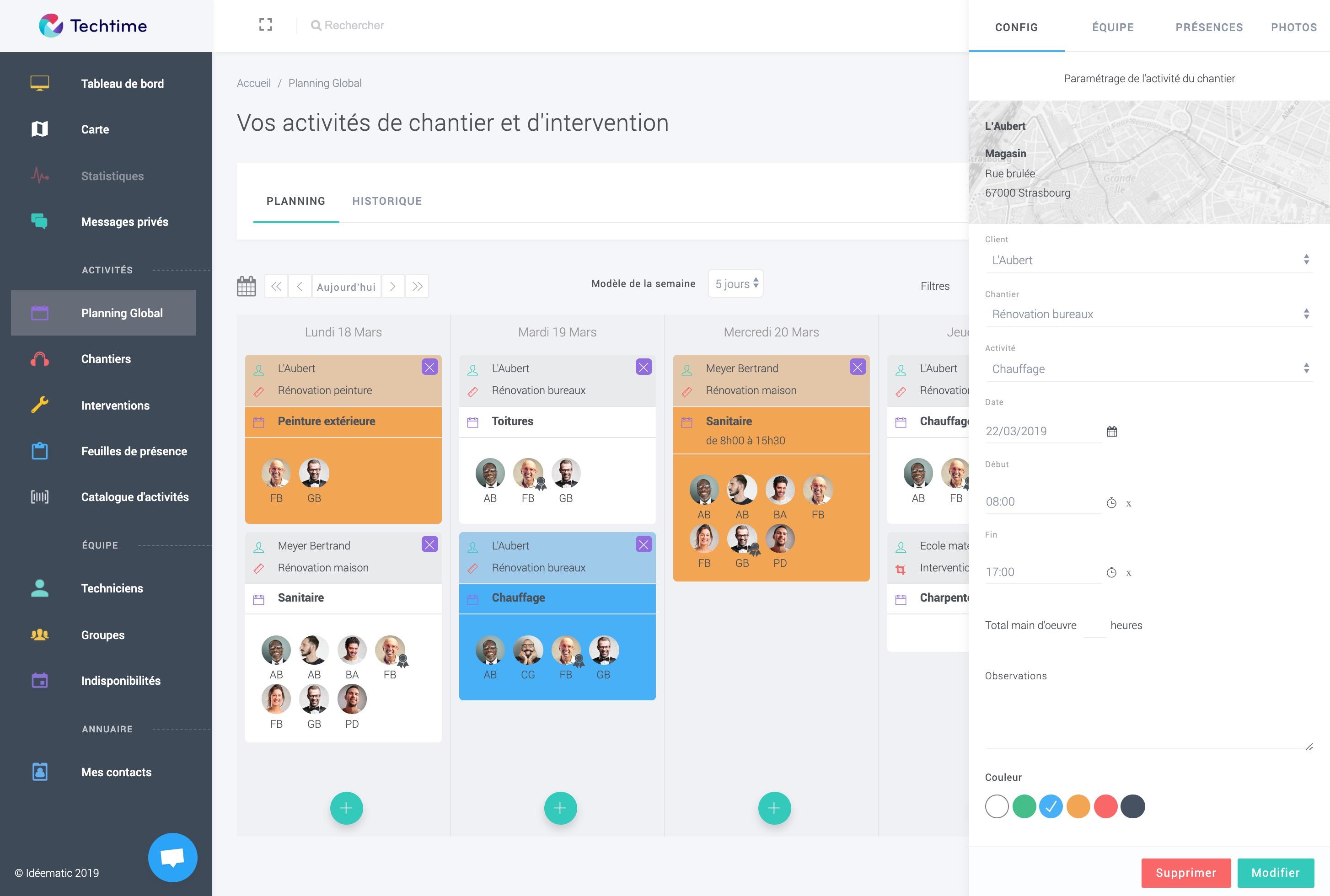 Une application web pour le gérant<br />Une application mobile pour les techniciens sur le terrain
